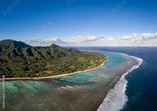 Vászonkép Stunning aerial view of the Rarotonga island in the south Pacific, the main of t