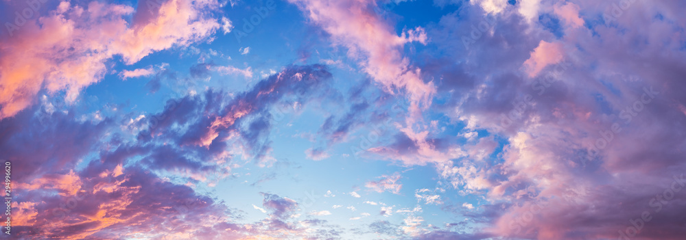 Fototapeta Panorama of beautiful evening cloudy sky. Nature background.