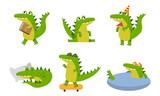 Fototapeta Fototapety na ścianę do pokoju dziecięcego - Green Crocodiles With Different Emotions In Various Poses Vector Illustrations Cartoon Character