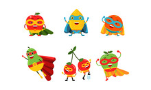 Cute Animated Fruits In Differ...