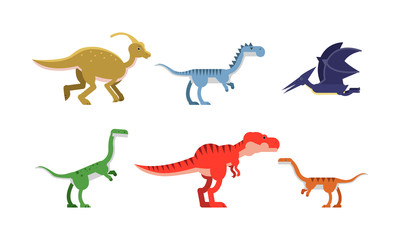 Ancient Dinosaurus Of Different Kind And Color Vector Illustrations Set Cartoon Character