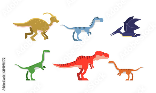 Fototapeta Ancient Dinosaurus Of Different Kind And Color Vector Illustrations Set Cartoon