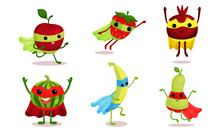 Cute Animated Fruits In Superh...