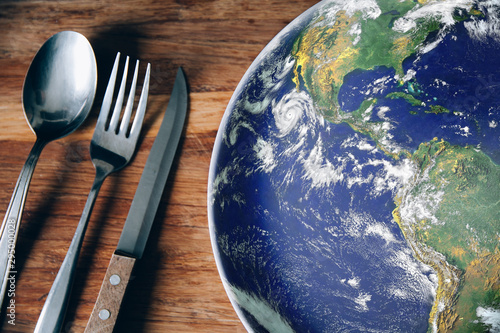 Leinwand Poster The planet Earth plate with a fork and knife on a wooden background