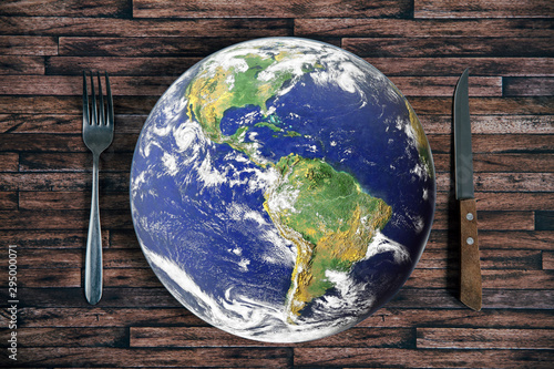 Obraz na płótnie The planet Earth plate with a fork and knife on a wooden background