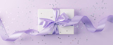 Craft Gift Box On A Lilac Back...
