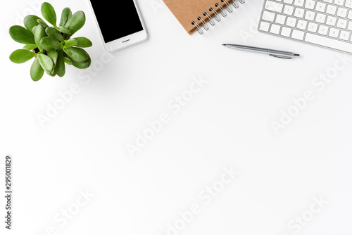 Fototapeta Elegant workspace with business accessories isolated on white background with copyspace. Office desktop obraz