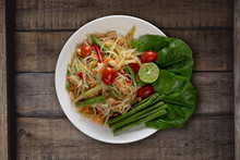 Top View Thai Food Rice Noodle...