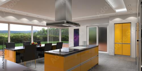 3D rendering modern kitchen Fotobehang