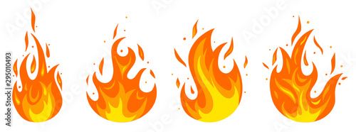 Cuadros en Lienzo Set of different fires in cartoon style