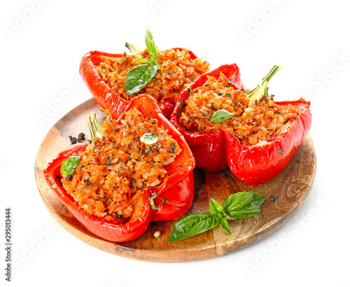 Fototapeta Plate with tasty stuffed pepper on white background obraz