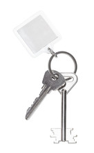 Two Keys On Ring With Blank Keychain Isolated