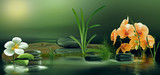 Wandbild mit Orchideen, Gräser und Steinen im Wasser beim Sonnenaufgang