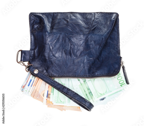 Fotografija leather wristlet pouch with many euros isolated