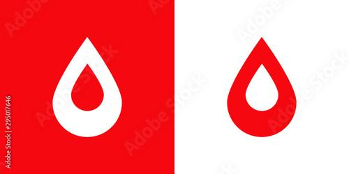 Logotipo con gota de sangre con gota espacio negativo en rojo y blanco Wallpaper Mural
