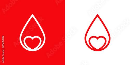 Logotipo con gota de sangre lineal con corazón en rojo y blanco Wallpaper Mural