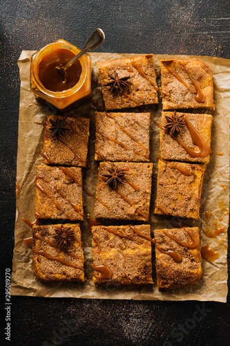 Spicy Pumpkin Сbars Blondie Squares with Cinnamon, Anise and Caramel Wallpaper Mural