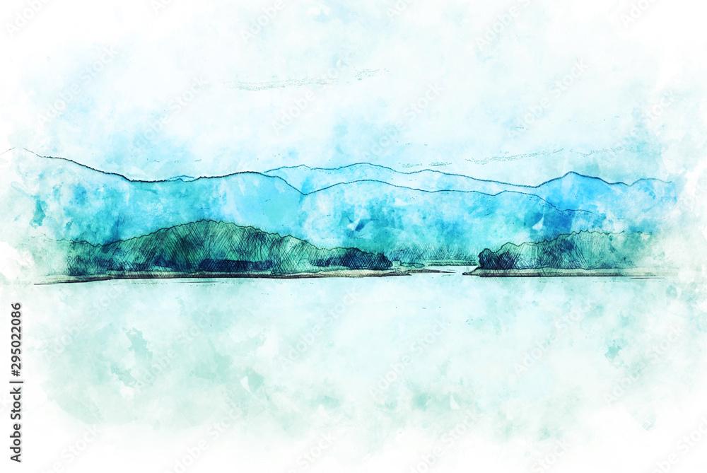 Abstrakcjonistyczny kolorowy kształt na halnym szczycie i drzewo krajobrazie na akwarela obrazu ilustracyjnym tle. <span>plik: #295022086   autor: Watercolor_Concept</span>