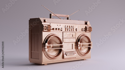 Bronze Boombox 3 Quarter Right View 3d illustration 3d render Obraz na płótnie