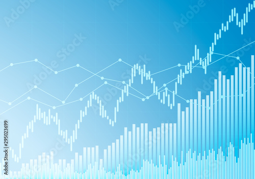 Illustration of blue growth index or graph. Investment or stock market with upward trend, vector