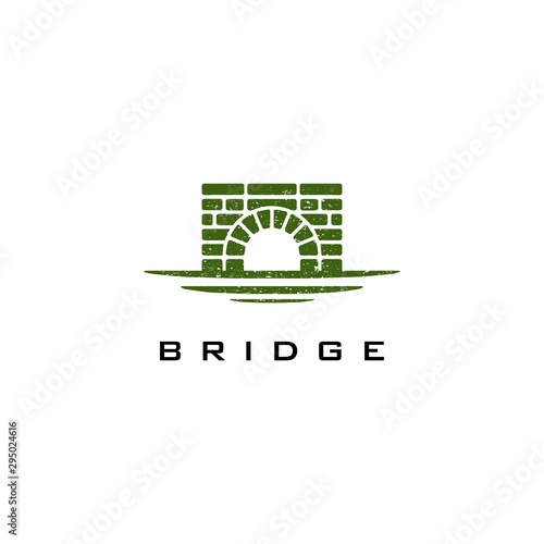 Fényképezés Simple Canal logo / Waterway Brick Bridge Logo