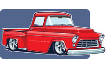 Untitled-1Vector Illustration Of Red Pickup. Tuning For Old Fashioned Red Pickup.