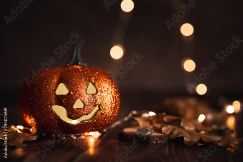 Halloween pumpkin with candlelight and bokeh background Wallpaper Mural