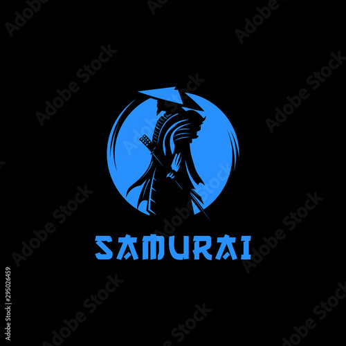 Samurai moon logo design illustration Canvas Print