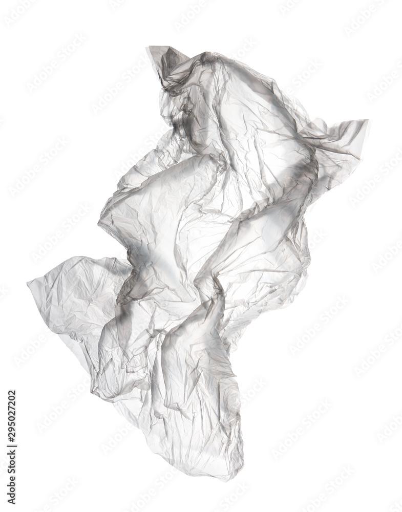 Fototapety, obrazy: flying transparent used polyethylene bag isolated on white background