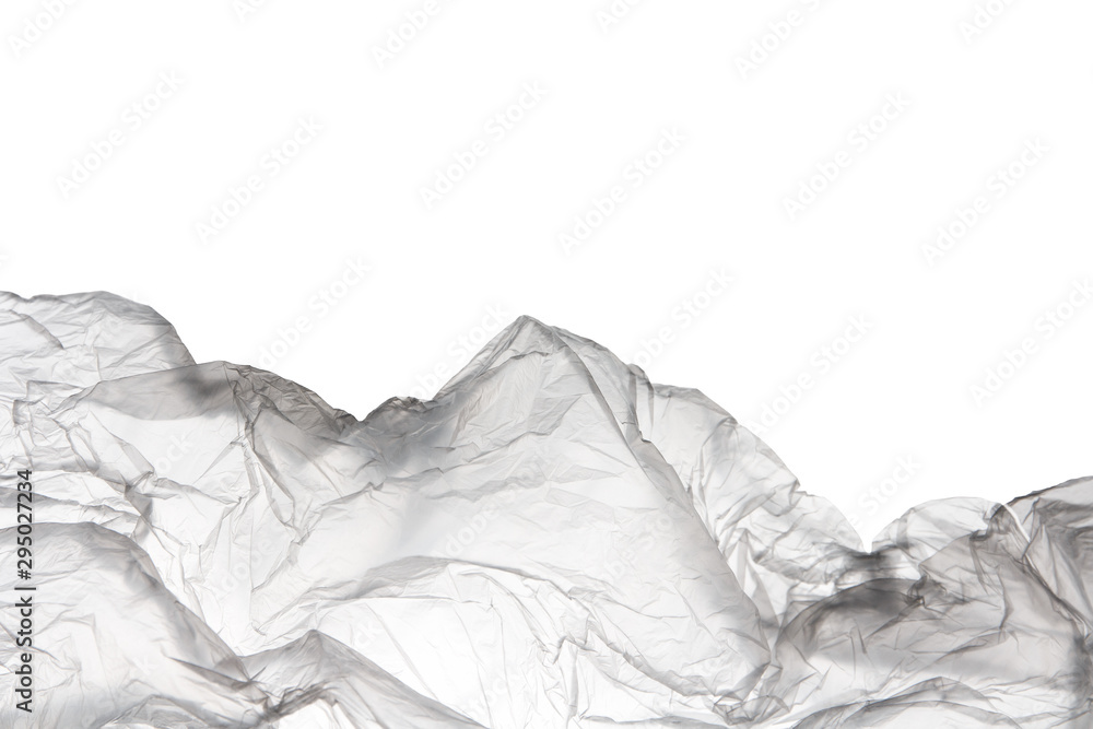 Fototapety, obrazy: transparent used polyethylene bag isolated on white background with copy space