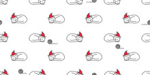 Cat Seamless Pattern Christmas Vector Santa Claus Hat Kitten Sleeping Cartoon Scarf Isolated Repeat Wallpaper Tile Background Illustration Doodle Design