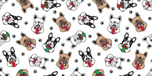 Dog Seamless Pattern Christmas Vector French Bulldog Santa Claus Paw Footprint Gift Box Scarf Isolated Cartoon Repeat Background Tile Wallpaper Illustration Design