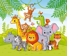 Cute African Animals Stand Among The Savannahs. Large Collection Of Animals.