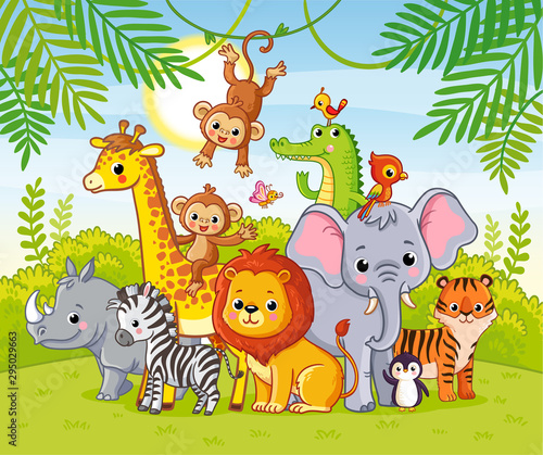 Cute african animals stand among the savannahs. Large collection of animals. #295029663