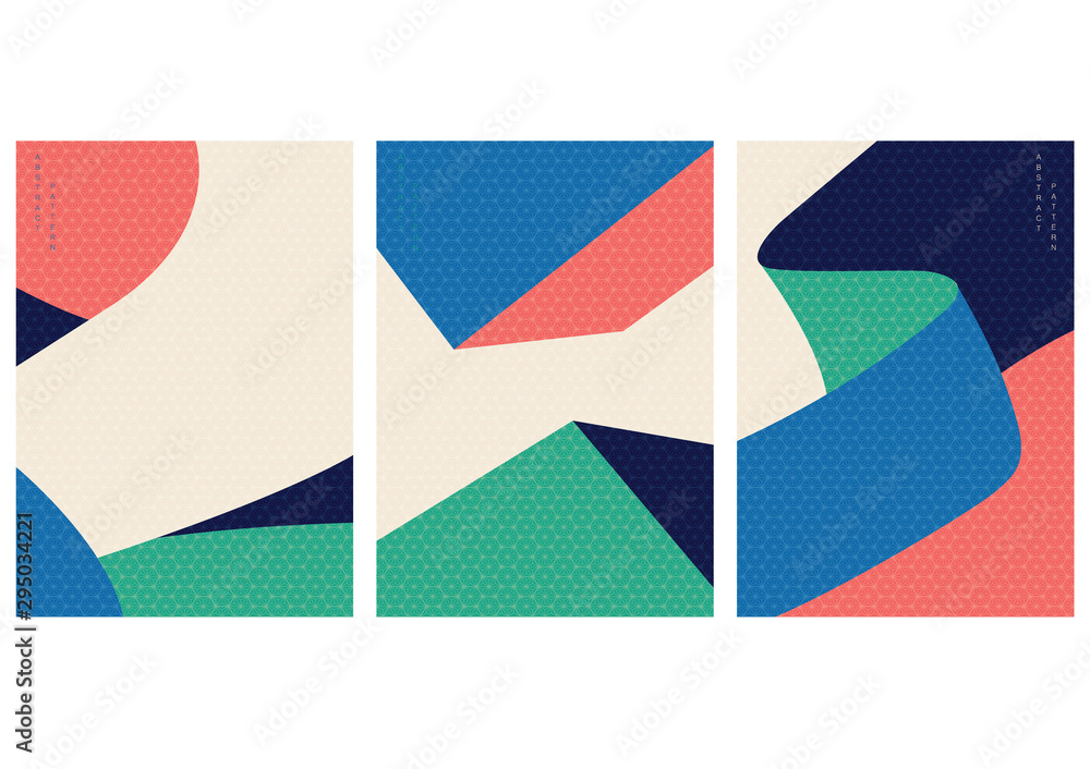 Fototapety, obrazy: Abstract pattern with geometric elements vector. Japanese pattern. Memphis style template.