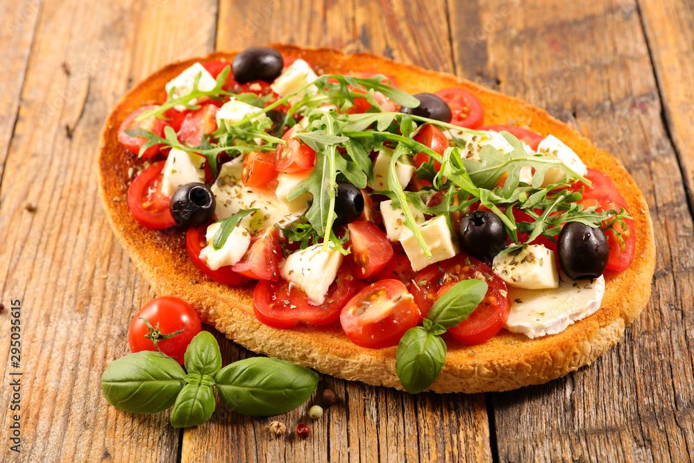 Fototapety, obrazy: sandwich with tomato, mozzarella and basil- bruschetta