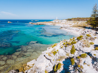 Rottnest Island, Perth, Western Australia. Beautiful clear blue waters with unique landscape, shot aerially with a drone. The island is perfect for swimming, snorkelling and exploring.