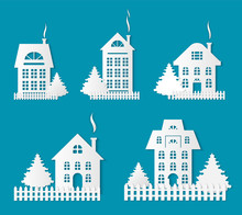 Buildings Silhouettes, Papercuts Isolated Icons Set Vector. Houses With Old Roof And Chimney With Smoke, Wooden Fence By Homes. Pine Tree Growing