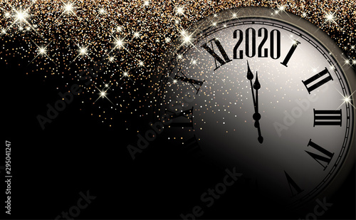 Gold shiny 2020 New Year background with clock. Greeting card.