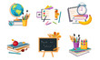 Back to School Elements Set, Education Icons, Different School Supplies and Stationeries Vector Illustration