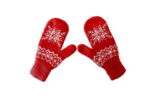 Pair Of Reds Knitted Mittens W...