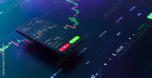 Fotografía  Futuristic stock exchange scene with mobile phone, chart, numbers and SELL and B
