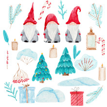 Watercolor Christmas Set With ...