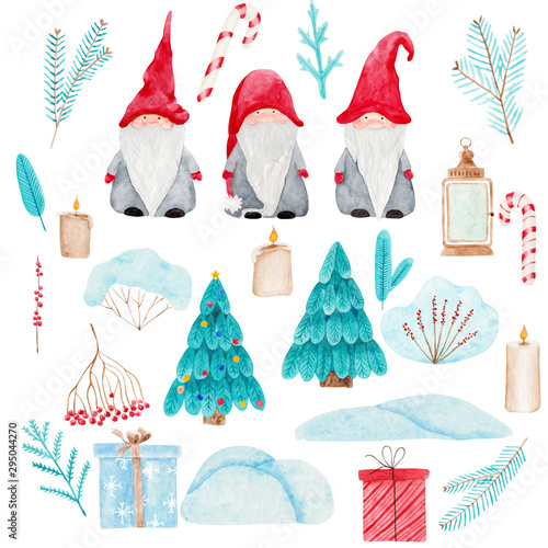 Obraz Watercolor Christmas set with Scandinavian gnomes. Beautiful illustrations of Nordic folklore creatures Nisse, Christmas trees, fir and berries branches, snowdrifts, candles, golden lantern, gifts. - fototapety do salonu