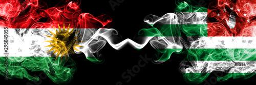 Photo Kurdistan vs Abkhazia, Abkhazian smoke flags placed side by side