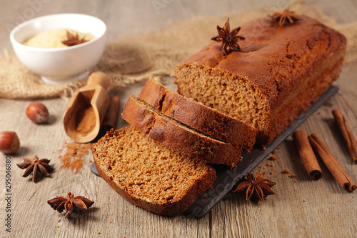 gingerbread cake with spices and ingredients Wallpaper Mural