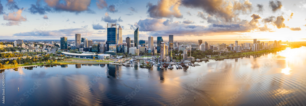 Fototapety, obrazy: Aerial panoramic view of the beautiful city of Perth at sunrise