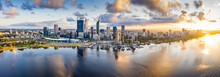 Aerial Panoramic View Of The Beautiful City Of Perth At Sunrise