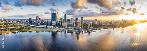 Aerial panoramic view of the beautiful city of Perth at sunrise - 295048675