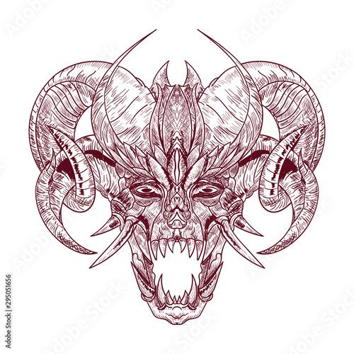 Fotografia Demon goat Baphomet with sacred occult eye